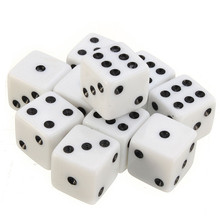 Best Promotion 100 PCS Plastic White 8mm Gaming Dice Standard Six Sided Decider Die RPG For Birthday Parties Toy Bauble