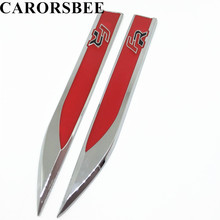 CARORSBEE 1 Pair Red FR Logo Emblem Badge Decals Metal FR+ Auto Fender Side Car Stickers For Seat leon 2 Cupra Ibiza Altea Exeo(China)