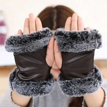 Unique Soft Leather Gloves Office Ladies Fingerless Half Finger Warm Gloves Mittens Accessories For Woman Hot(China)