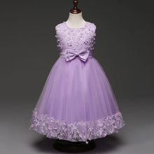 Children Formal Gowns for Princess Wedding Party Dress Age 4 Kids 10 Mint Green Pink Burgundy Lavender Flower Girl Dresses(China)