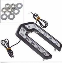 Universal car Style L Shape LED White Daytime Driving Running Light Fog Lamp For Mazda  Toyota Honda Opel Ford VW