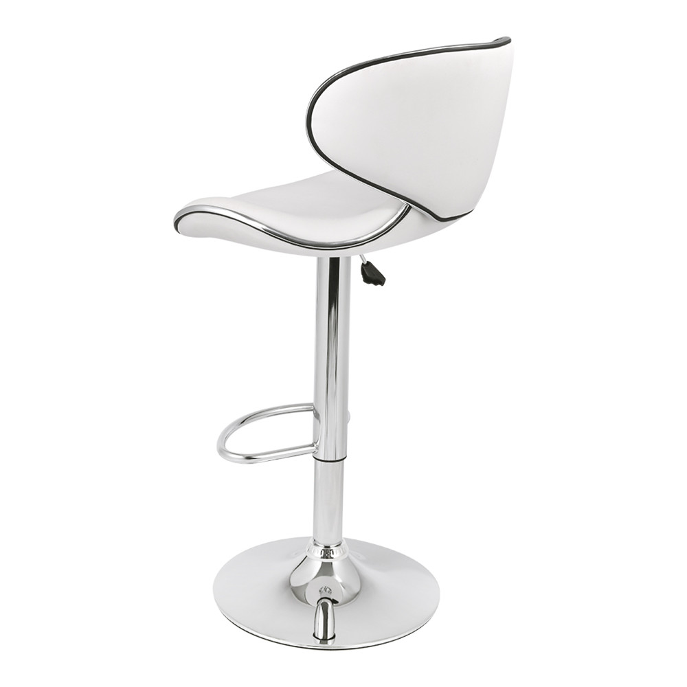 LANGRIA Set of 2 Gas Lift Height Adjustable Swivel Faux Leather Wrap-Around Bar Stools Chairs with Chromed Base and Footrest 13