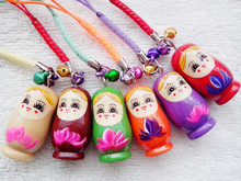 NEW 6pcs Pure handmade wedding return items wooden Russian dolls cute rope key chains Decoration anywhere #4798753