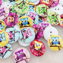 New 50pc White Print Owl Tower Wood Buttons Clothing Sewing 20 mm WB49
