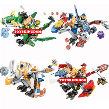 Hot Nexus Nick Knights Mechanical Dragon Mounts Lepins Building Block Aaron Clay Lance Macy Figures Bricks Toys for Kids Gifts(China)