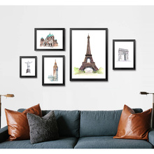 Famous Building Eiffel Tower Clock Tower Art Canvas Poster Print Minimalism Watercolor Picture for Modern Home Office Decor FA64