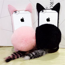 For iPhone 5 5S SE 6 6S 7 Plus Cute Cartoon Cat ear Pom Tail Tassel Transparent Phone case Plush Fur Ball Soft TPU+PC Back Cover