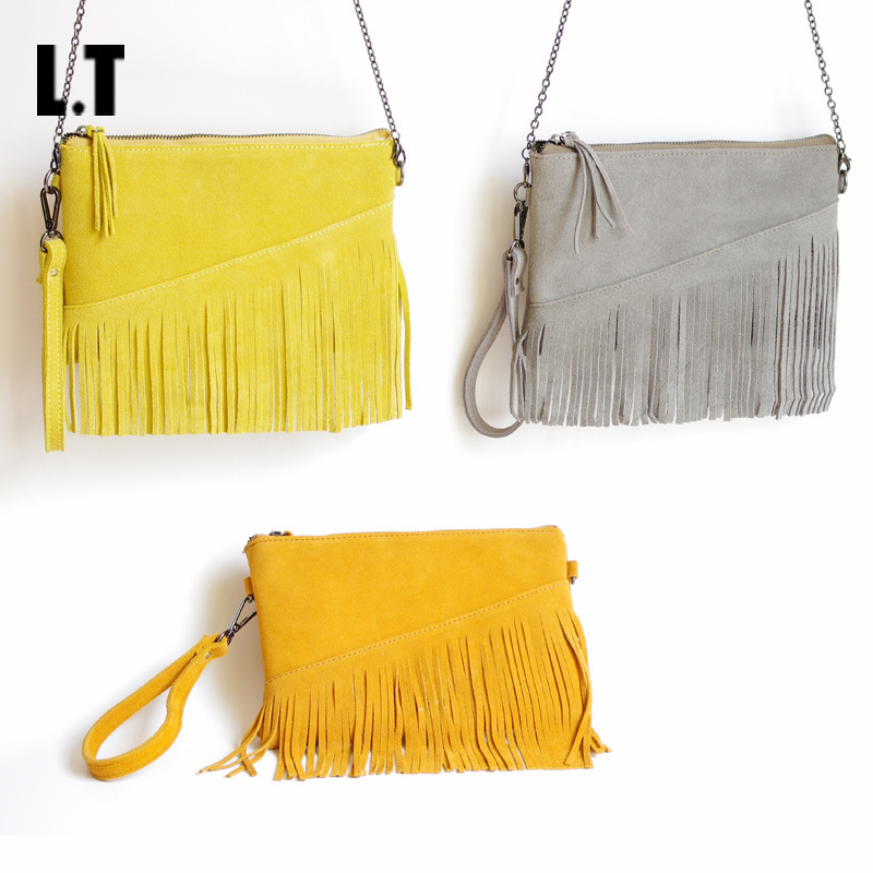 2017 Women Real Leather Cute Wristlet Shoulder Bag Casual Trendy Small Cell Phone Plain Nubuck Suede Tassel Fringed Hand Bag<br><br>Aliexpress