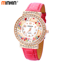 MINHIN Brand Ladies Leather Quartz Wristwatches Luxury Dress Jewelry Watch Montre Femme Clock Wholesale Relojes muje 9 Colors