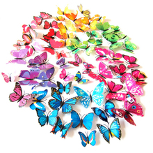 12 pcs/lot Magnetic 3D Butterfly Wall Sticker Art Decal Wall Stickers Home Decor Rooms Adhesive to Wall Decoration De Parede