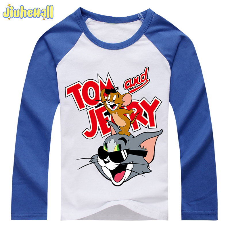2017 Boy Girl Cat And Mouse Clothes Children Cartoon Printing Costume Baby Raglan Cotton Tshirt Kids Tom Jerry Tee Tops DCY109(China)