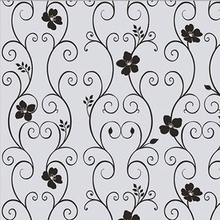 Sweet Removable Frosted Cover Glass Window Black Floral Flower Sticker Film Store 207(China)