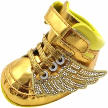 ROMIRUS New Design Brand High Top Baby Boys Girls Wings Crib Bebe Sneakers Shoes Infant Toddler Gold Pu Leather Boots Footwear