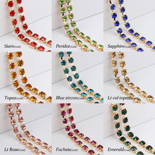 SS28 Crystal Rhinestone cup chain Gold base 1yards 17colors for your choice for garment Accessories