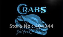 LK655- Crabs Fresh Seafood Restaurant   LED Neon Light Sign    home decor  crafts