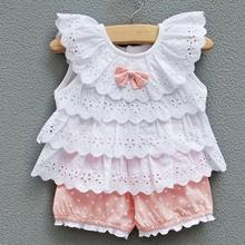 2016 Hot Sweet Baby Kids Girls 2pcs Outfit Clothes Ruffled T-shirt Tops + Dot Pants Suit Clothing Sets LL6