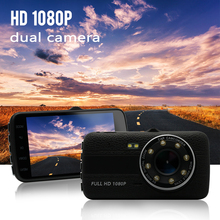 2017 Original 4.0 Inch IPS Screen 8LED lights Car DVR camera dual lens rearview Camera Dash Camera Full HD 1080P Video Dash Cam(China)