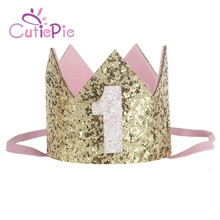 CUTIEPIE Shiny Mini Felt Glitter Crown with Different Number Headbands For Birthday Party DIY Crafts Hair Decorative Accessories