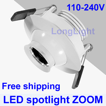 Zoomable Spot led 1W 3W 5W 7W led downlight 4000K 110-240V led lamp Museum display cabinets dedicated lights