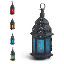 NEW Vintage Glass Iron Moroccan Delight Garden Candle Holder Table LED Hanging Lantern Fine for Home Wedding Party Decoration(China)