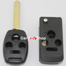 Keyless Entry Uncut Switch 4 Buttons Remote FOB Flip Folding Key Shell Case for Honda Accord Civic
