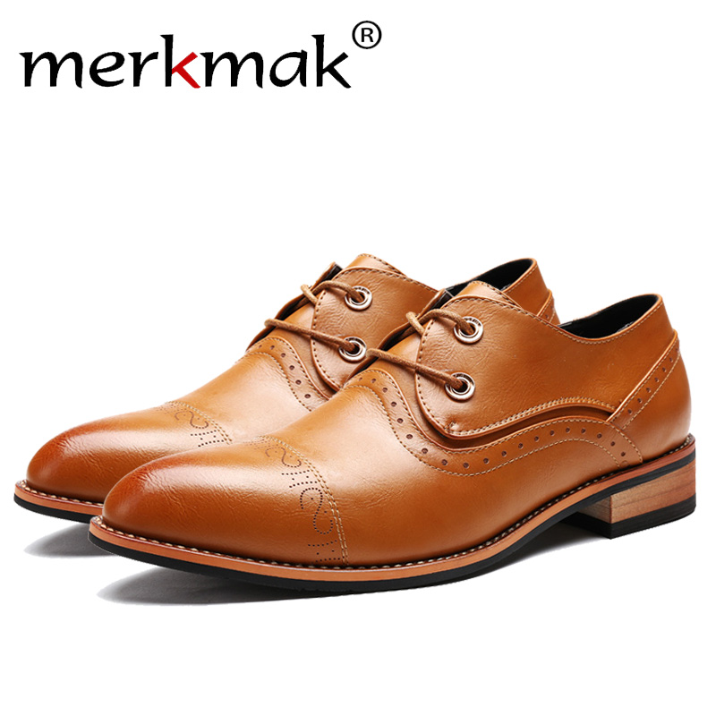 Merkmak Men Shoes Famous Luxury Brand Leather Formal Office Classic Loafers Pointed Toe Dress Flats Footwear Brogue oxford Shoes<br>