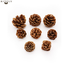 BITFLY 10pcs diy Christmas Tree Pine Cones Wood Pinecone Hanging Ball Pendant Party Ornament For Home Office Festival Supplies