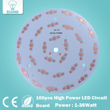 free shipping 100pcs 1W 3W 5W 7W 9W 12W 15W 18W 21W 24W 30W 36W LED Aluminum Plate/ High Power LED Circuit Board/ Heat Plate PCB(China)