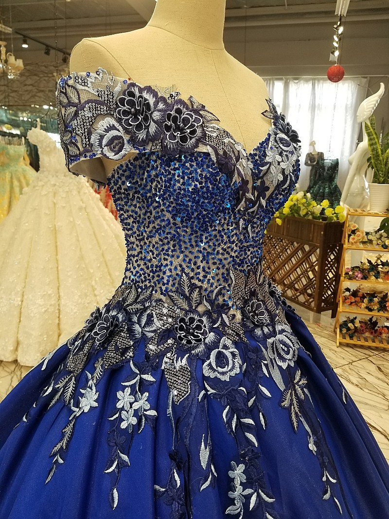 1099 Royal Blue Evening Dress 3D Flower Lace With Pearls French Lace Flower Ball Gown
