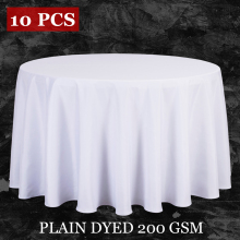 10PCS/LOT Wholesale Polyester Round Tablecloth For Wedding Hotel Decor White Table Cloth Square Table Linen Dining Table Cover(China)
