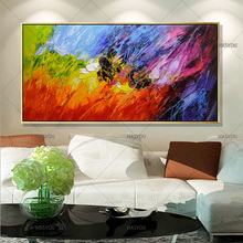 Hand Painted Abstract Modern Oil Painting Home Wall Art Canvas Set With Red bule green Artwork best Gift For Living Room Decor(China)