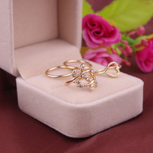 4pcs/1set Fine Jewelry Simple Design Vogue Silver Gold rhinestone Tree Leaf Leaves Nail Band Mid-Finger Knuckle Ring For Women