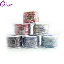 SS6 2mm 10yards/roll Gold Base Or Silver Base New Deals Crystal Rhinestone DIY Accessories Close Rhinestone Cup Chain