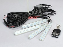 July King Car Changeable 7 Colors Ambient lighting, 4 pcs*6 LEDs, 5050 SMD, Car Interior Lights With Keychain Remote Controller(China)