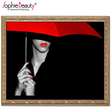Sophie Beauty DIY Diamond Painting Embroidery Red Parasol Girl Mosaic Drawing Drill Handmade Cross Stitch Wedding Gifts Home Art(China)