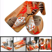 1Pack=3pcs Soft Starfish Pedestal Rug Bath Mat Flannel Seashell Contour Pedestal Rug Lid Toilet Cover Carpet Bathroom Set