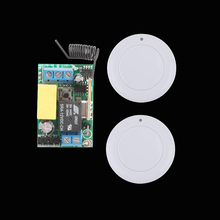 AC 220V Wireless Switch Receiver White 45mm Diameter Remote Transmitter For Hall Bedroom Ceiling Lights Wall Lamps Wireless TX(China)