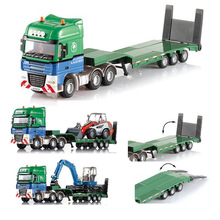 2 Pcs/Set 1:55 Flatbed Trailers Truck with Bulldozer Alloy Metal Model Car Toy Collection Gift Toys For Kids Children Wholesale