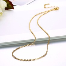 Women's 1.5mm rolo chain 18'' 45cm style Chains necklace 18KGP golden fashion jewelry section gift pouches free(China)