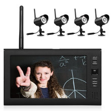 "7"" LCD Wireless Baby Monitor 4 Channel Quad Security System DVR With 4Cameras(China)"