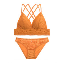 French Romance Lace Push Up Bra Sexy Lingerie Triangle Bralette Floral Underwear Bras For Women Small Breast AB Orange Brassiere(China)