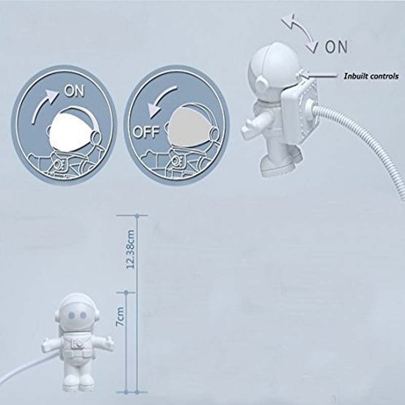 Hot Sale Brand New Creative Spaceman Astronaut LED Flexible USB Light for Laptop PC Notebook USB Reading Light LED