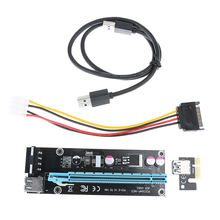 PCIe PCI-E Riser Card 1X to 16X USB 3.0 Cable Extender Graphic Card Adapter SATA 15Pin to 4Pin Power Cable for BTC Miner Machine