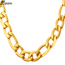 Thick Gold Chain Necklace Men Figaro 316L Stainless Steel yellow Gold color Wholesale Men Jewelry 12mm 5 Sizes Jewelry N2012G(China)