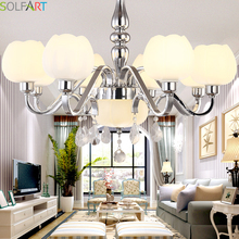 SOLFART Simlple Design Chandeliers Lighting For Dining Room Chrome Metal Iron Frame Frosted Glass Shade Clear Crystal(China)