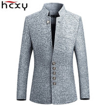 ad7198232a9 HCXY Blazer Men 2018 spring New Chinese style Business Casual Stand Collar  Male Blazer Slim Fit Mens Blazer Jacket Size M-5XL