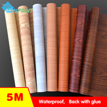 Waterproof fabric wall stickers vinyl wallpaper Furniture wood grain self adhesive film Kitchen cupboard wardrobe door stickers(China)