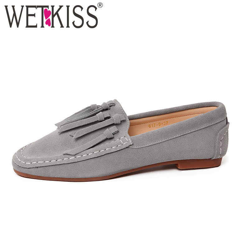 WETKISS Loafers Women Flats 2018 New Spring Fashion Girl Casual Shoes Tassel Cow Suede Flat Outsole Square Toe Sewing Footwear<br>