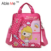 AbleMe Dot Printing Fashion Kids Student Tote Bags Boys And Girls Backpack Tutorial Book Art School Bags For Children(China)