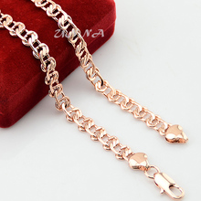 8mm Mens Womens Accessories Solid Rose Gold Color Filled Link Chain Necklace Jewelry Fashion NEW(China)